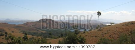 Large View Of The Rinca Island And Its Mountains, Komodo Archipelago, Indonesia, Panorama