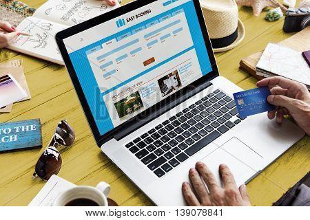 Woman Travel Planning Schedule Booking Online Concept