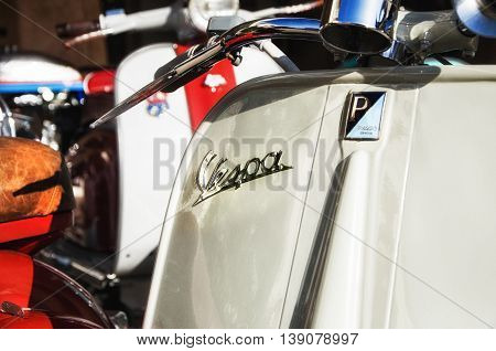 Porto Cervo, Italy - June 29, 2016: Piaggio Vespa vintage sprint motor scooter motorbike motorcycle