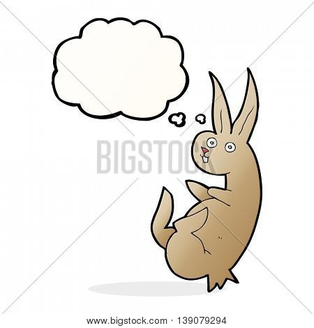 cue cartoon rabbit with thought bubble