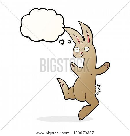 funny cartoon rabbit with thought bubble