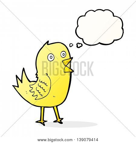 cartoon tweeting bird with thought bubble