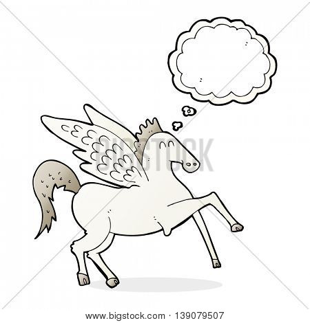 cartoon pegasus with thought bubble