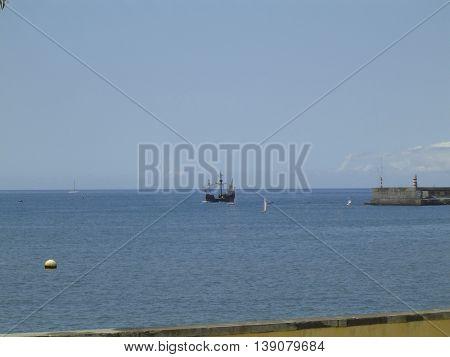 The Caravela Vera Cruz off the coast of  Madeira island .