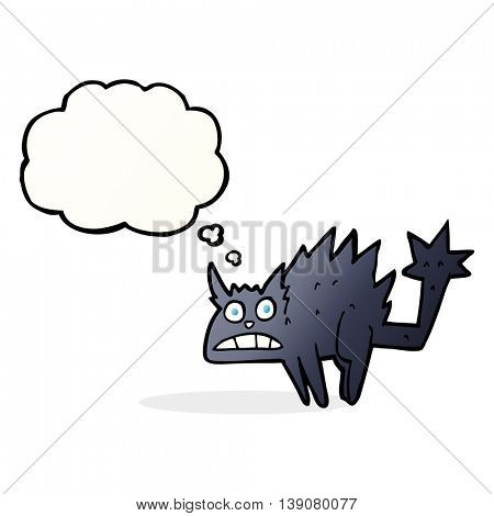 cartoon frightened black cat with thought bubble