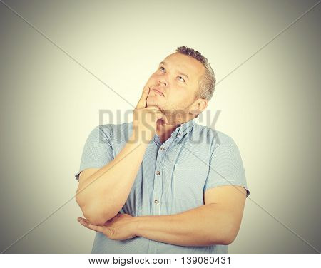 Fat Man  Chin On Hand Thinking Daydreaming, Staring Thoughtfully Upwards,