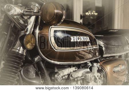 Porto Cervo Italy - july 1 2016 : Honda classic motorcycle 500 four vintage