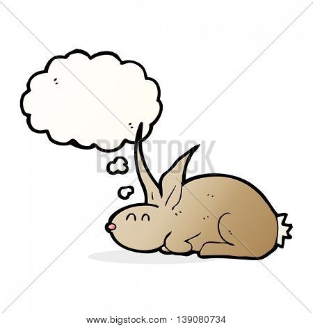 cartoon rabbit with thought bubble