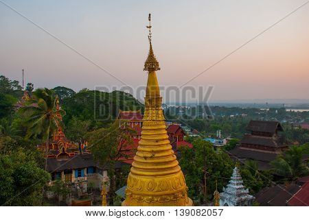 Golden Stupa Kyaik Tan Lan .the Old Moulmein Pagoda. Mawlamyine, Myanmar. Burma.