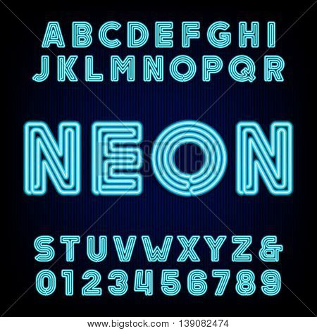 Retro blue neon tube alphabet. Type letters and numbers on a dark background. Vector font for labels, titles, posters etc.