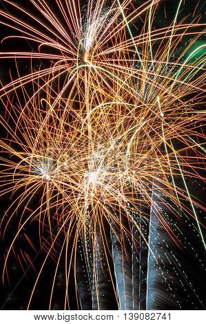 A net of fireworks exploding overhead in a beautiful display.