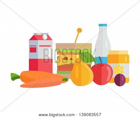Group of food vector illustrations. Flat design. Collection of various food milk, honey, yogurt, juice, fruits and vegetables on white background for diet, menus, signboards illustrating.