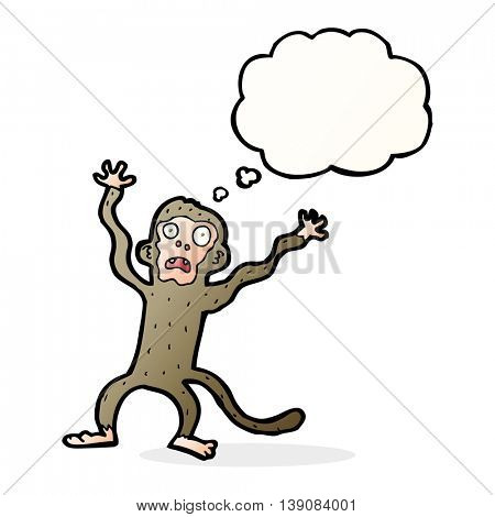 cartoon frightened monkey with thought bubble