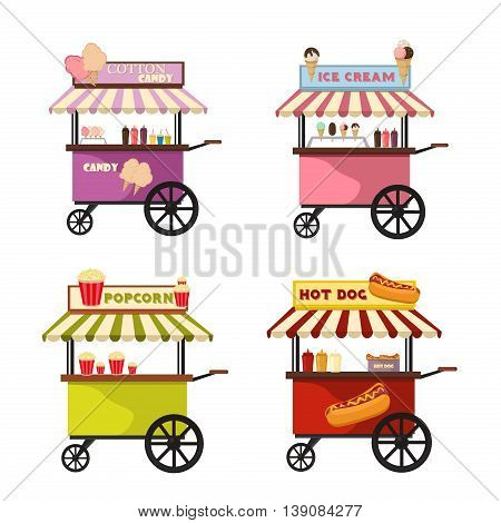 Vector illustration of food truck icon designs.Cartoon food trucks delivery and street food van. Fast food delivery cart. Flat design vector food trucks transportation business vehicle.