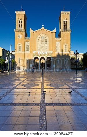 ATHENS, GREECE - JULY 17, 2015: View of the Metropolitan Cathedral of Athens on July 17, 2015.