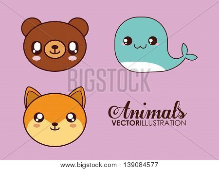 Cute animal design represented by kawaii bear, whale and fox icon. Colorfull and flat illustration.