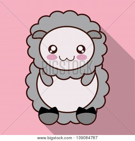 Cute animal design represented by kawaii sheep icon. Colorfull and flat illustration.