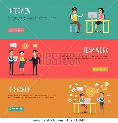Social people teamwork concept. Concepts for business interview, strategic management, finance research, human resources. Page website template. Banner, landing page. Flat design vector illustration