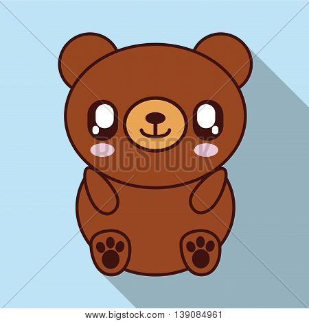 Cute animal design represented by kawaii bear icon. Colorfull and flat illustration.