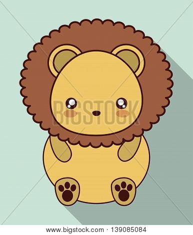 Cute animal design represented by kawaii lion icon. Colorfull and flat illustration.