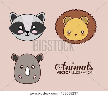 Cute animal design represented by kawaii lion, raccoon and rhino icon. Colorfull and flat illustration.