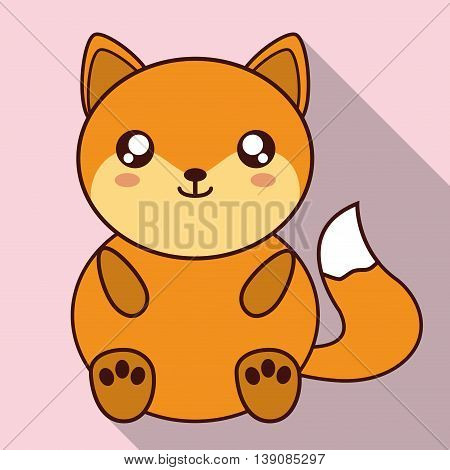 Cute animal design represented by kawaii fox icon. Colorfull and flat illustration.