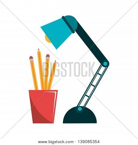 pencil holders with lamp isolated icon design, vector illustration  graphic