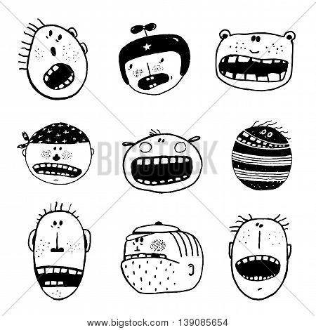 Linear hand drawn people icon set. Cartoon different characters and personalities. Vector monochrome outline illustration. Funny illustration for kids, black and white.