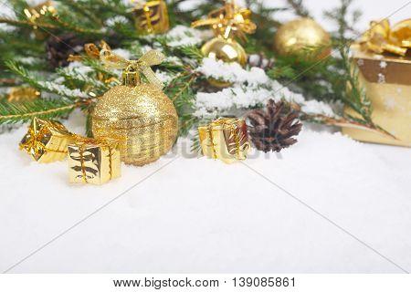 Christmas Decorations On Snow