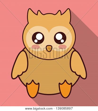 Cute animal design represented by kawaii owl icon. Colorfull and flat illustration.