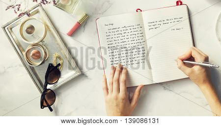 Writing Journal Female Decor Concept