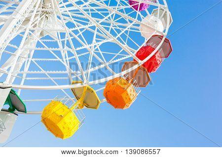A part of Tibidabo's ferris wheel at blue sky