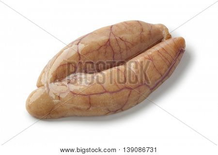 Raw whiting roe on white background