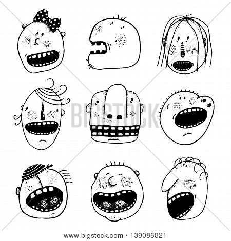 Funny characters collection. Cartoon style, various funny personalities. Vector monochrome outline illustration. Black and white designer set.