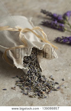 Linen sack with dried lavender flowers