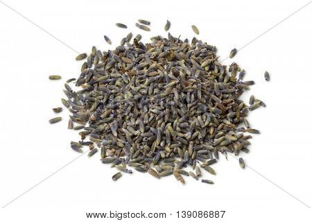 Heap of dried lavender flowers on white background