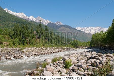 The upper reaches of the river Beas in Kullu Valley. Himachal Pradesh, North India