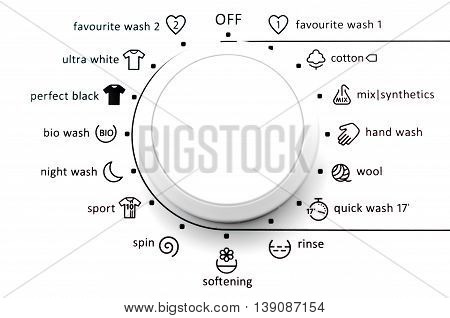 Close up view of washing machine dial