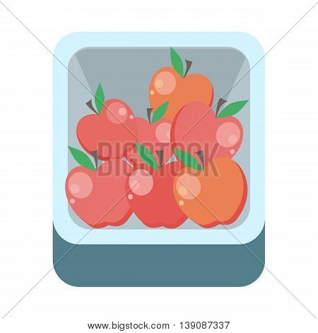 Apples in tray vector in flat style design. Grocery store assortment, foods for diet, fresh fruits concept. Illustration for icons, signboards, ad, infographics design. Isolated on white.