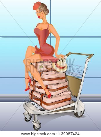 Retro Sexy Pin-up Woman Sitting On Luggage Truck