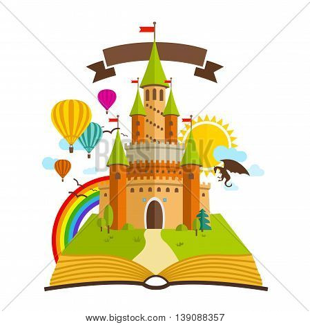 Fairy Tale castle. Vector Illustration with Book, dragon, sun, clouds, Baloons and Rainbow
