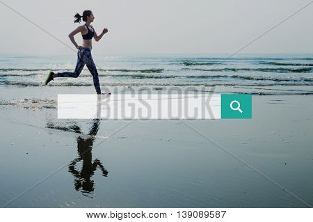 Search Text Box Girl Running Beach Background Concept