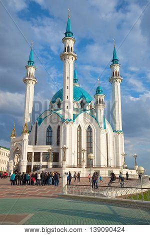 KAZAN, RUSSIA - APRIL 30, 2016: The Kul Sharif Mosque. Tour round the Kazan Kremlin. Religious landmark  of the Tatarstan