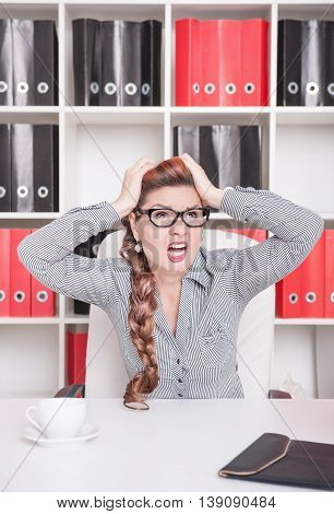 Frustrated Business Woman In Glasses Screaming