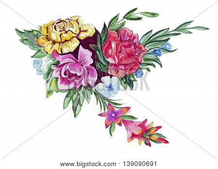 Illustration sketch of a large bouquet of fresh spring flowers: peonies, asters, dahlias and greenery for decorations