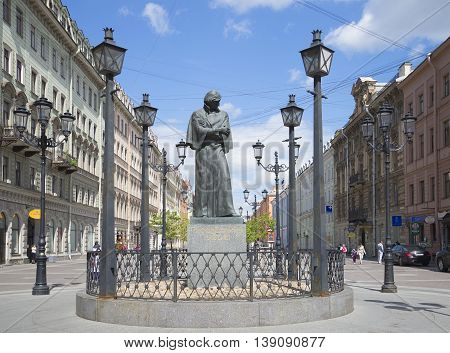 SAINT PETERSBURG, RUSSIA - JUNE 01, 2015: The Monument Gogol on Malaya Konyushennaya street in early summer. Historical landmark of the city Saint Petersburg