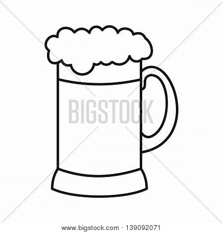 Mug of dark beer icon in outline style isolated vector illustration