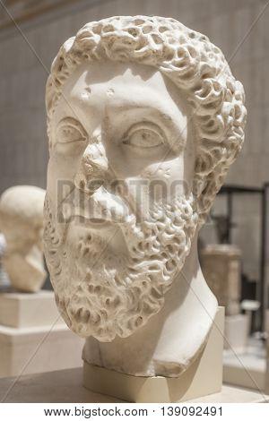Anciant Roman bust of Marcus Aurelius. Vertical