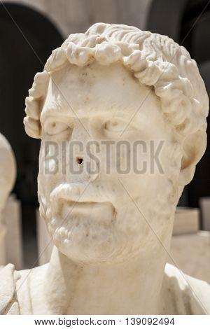 Anciant Roman bust of Hadrian with no nose. Publius Aelius Hadrianus Augustus