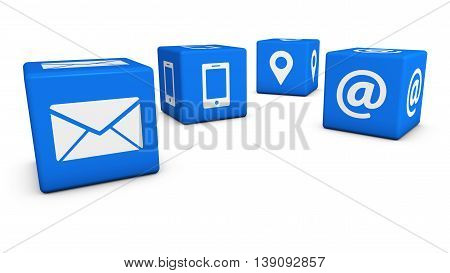 Contact us icons and symbol on blue cubes 3D illustration on white background.